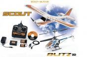 Комплект радиоуправляемый вертолет + самолет FLIGHTBOX BLITZ 3D + SCOUT