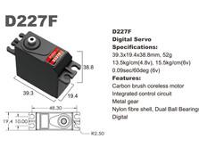 Сервопривод стандарт 52г BATAN D227F 15.5кг/0.09сек металл цифровой-фото 1