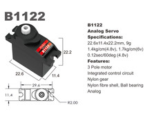 Сервопривод микро 9г BATAN B1122 1.4кг/0.12сек-фото 1