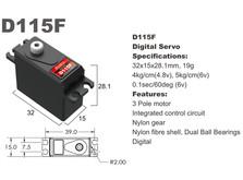 Сервопривод мини 19г BATAN D115F 4.0кг/0.12сек цифровой-фото 1