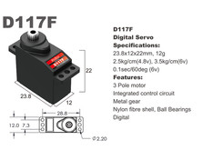 Сервопривод микро 12г BATAN D117F 2.5кг/0.12сек металл цифровой-фото 1