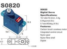 Сервопривод микро 3.5г BATAN S0820 0.4кг/0.1сек цифровой-фото 1