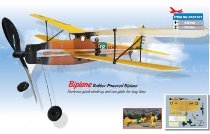Самолет Aviator Biplane 17'' с резиномотором