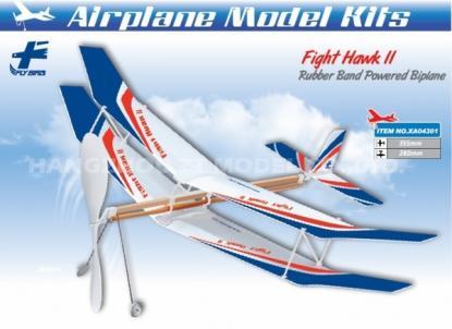 Биплан Flight Hawk II с резиномотором