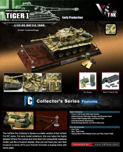 Коллекционная модель танка VSTank German Tiger I 1:24 EP (Green Camouflage)