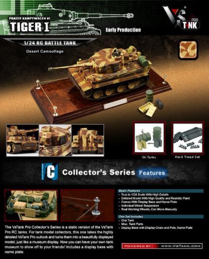 Коллекционная модель танка VSTank German Tiger I 1:24 EP (Yellow/Brown Strip)