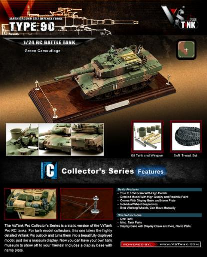 Коллекционная модель танка VSTank JGSDF Type 90 1:24 (Green Camouflage)