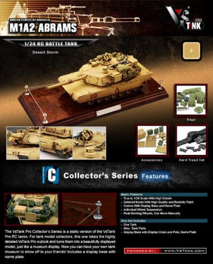 Коллекционная модель танка VSTank US M1A2 Abrams 1:24 (Desert)