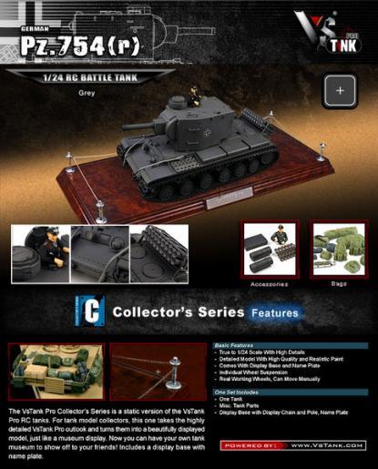 Коллекционная модель танка VSTank New MCU German PZ754(R) 1:24 (Grey)