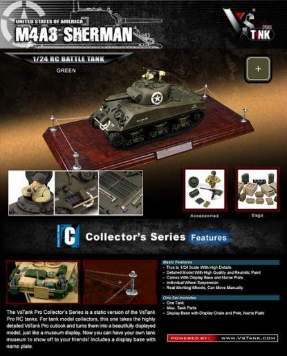 Коллекционная модель танка VSTank New MCU US M4 Sherman 1:24 (Green)