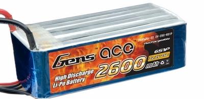 AE Gens Ace Li-Po battery 22.2V 2600 mAh 6S1P 25C Soft Case