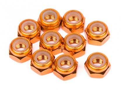 HPI Racing ALUMINUM LOCK NUT M4 (ORANGE/10pcs)