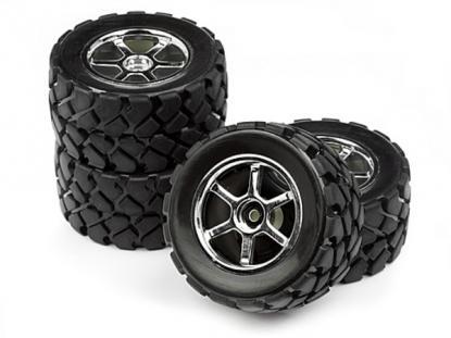 HPI Racing Комплект колес в сборе 1:18  VT TIRE, 35мм, хром, 4шт