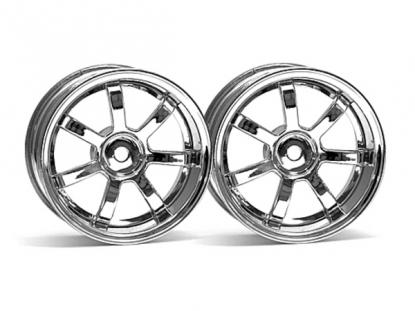 HPI Racing Комплект дисков 1:10, для шин 57S-PRO, хром,шир.26мм,вылет3мм,шоссе,адаптер12мм, 2шт