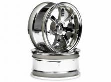 HPI Racing Комплект дисков 1:10, для шин 57S-PRO, хром, шир.26мм, 52мм, шоссе, адаптер 12мм, 2шт-фото 1