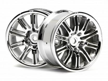 HPI Racing Комплект дисков 1:10, для шин 10 Spoke, хром, шир.26мм,шоссе, адаптер 12мм, 2шт