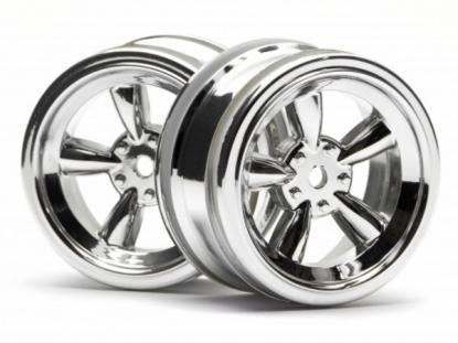 HPI Racing Комплект дисков 1:10, для шин VINTAGE 5 SPOKE,блест.хром, шир.26мм, вылет 0мм, шоссе, 2шт