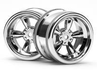 HPI Racing Комплект дисков 1:10, для шин VINTAGE 5 SPOKE WHEEL,блест.хром,шир.31мм,выл.6мм,шоссе 2шт