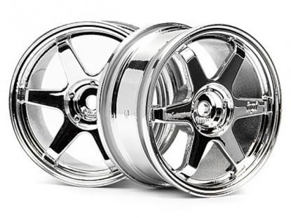 HPI Racing Комплект дисков 1:10, для шин TE37, хром, шир.26мм, вылет 0мм, шоссе, адаптер 12мм,2шт
