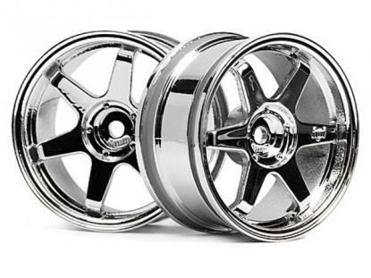 HPI Racing Комплект дисков 1:10, для шин TE37, хром, шир.26мм, вылет 3мм, шоссе, адаптер 12мм, 2шт