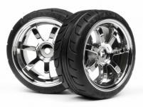 HPI Racing Комплект колес в сборе 1:10 T-GRIP RAYS 57S-PRO 52мм х 26mm, хром, адаптер 12мм, 2шт.
