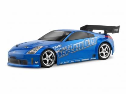 HPI Racing Корпус 1/10 Nissan 350Z Greddy Twin Turbo,некрашенный,190мм. Декали, наклейки, маски